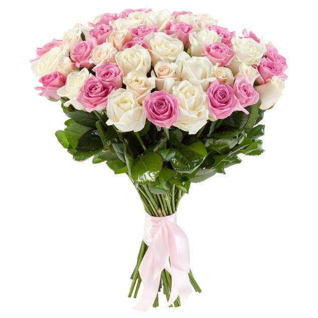 Букет из 25 белых и розовых роз